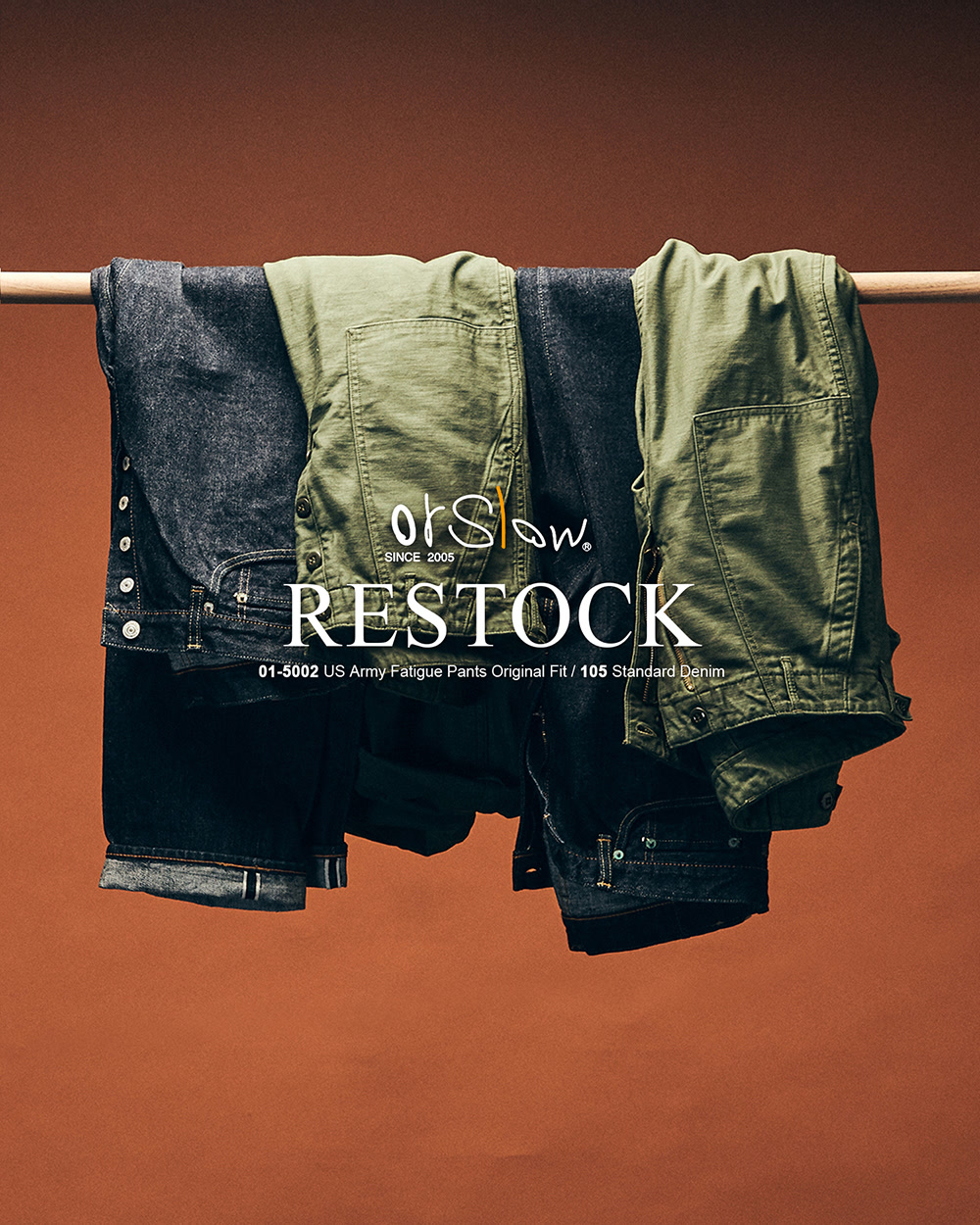[ORSLOW] FATIGUE PANTS / 105 DENIM PANTS RESTOCK